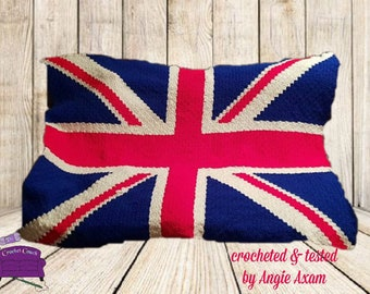 British Flag Afghan, C2C Crochet Pattern, Written Row Counts, C2C Graphs, Corner to Corner, Crochet Pattern, C2C Graph