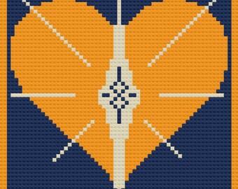Bursting Golden Heart Afghan, C2C Crochet Pattern, Written Row Counts, C2C Graphs, Corner to Corner Crochet Pattern, Graphgan, Heart C2C