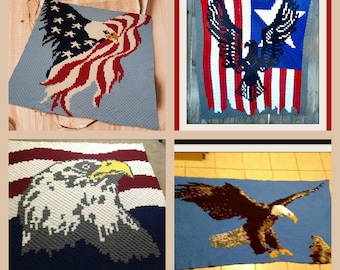 Set of 5 Eagle Afghan Patterns, , C2C Crochet Pattern, Written Row Counts, C2C Graphs, Corner to Corner Crochet Pattern, C2C Graph