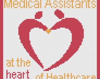 Medical Assistant Afghan, C2C Crochet Pattern, Written Row by Row, Color Counts, Instant Download, C2C Graph, C2C Pattern, C2C Crochet