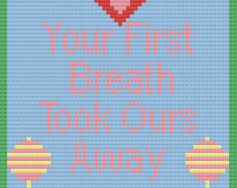 Your First Breath Baby Afghan, C2C Crochet Pattern, Written Row by Row, Color Counts, Instant Download, C2C Graph, C2C Pattern, Graphgan