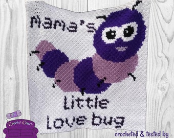 Mamas Little Love Bug Afghan, C2C Crochet Pattern, Written Row by Row, Color Counts, Instant Download, C2C Graph, C2C Pattern