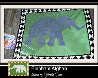 Elephant Afghan, C2C Crochet Pattern, Written Row Counts, C2C Graphs, Corner to Corner, Crochet Pattern, C2C Graph