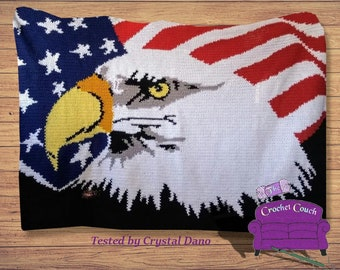 Patriotic Eagle Afghan , SC / TSS Crochet Pattern, Written Row Counts, sc tss Graphs, Corner to Corner, Crochet Pattern
