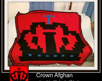 Crown Afghan, C2C Crochet Pattern, Written Row Counts, C2C Graphs, Corner to Corner, Crochet Pattern, C2C Graph