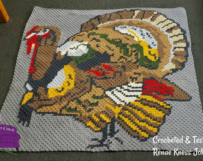 Featured listing image: Turkey Afghan, C2C Crochet Pattern, Written Row Counts, C2C Graphs, Corner to Corner, Crochet Pattern, C2C Graph