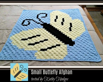 Small Butterfly Afghan, C2C Crochet Pattern, Written Row Counts, C2C Graphs, Corner to Corner, Crochet Pattern, C2C Graph