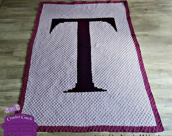 Letter T, Twin Afghan, C2C Crochet Pattern, Written Row by Row, Color Counts, Instant Download, C2C Graph, C2C Pattern
