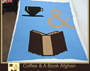 C2C Graph, Coffee and Book Afghan, C2C Graph,  Written Word Chart, coffee graph, coffee c2c, c2c afghan