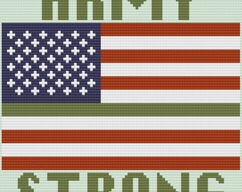 Army Strong Afghan, C2C Crochet Pattern, Written Row by Row, Color Counts, Instant Download, C2C Graph, C2C Pattern, Graphgan Pattern
