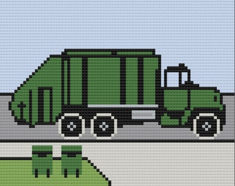 Garbage Truck Afghan, C2C Crochet Pattern, Written Row by Row, Color Counts, Instant Download, C2C Graph, C2C Pattern, Graphgan Pattern