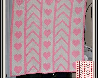 Heart Panel Afghan, C2C Crochet Graph, and Written Word Chart