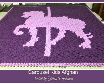 Carousel Horse Kids Afghan, C2C Crochet Pattern, Written Row Counts, C2C Graphs, Corner to Corner Crochet Pattern, C2C Graph