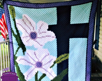 Easter Lily, and Cross Afghan, C2C Crochet Pattern, Written Row by Row, Color Counts, Instant Download, C2C Graph, C2C Pattern