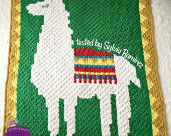 Llama Afghan, C2C Crochet Pattern, Written Row by Row, Color Counts, Instant Download, C2C Graph, C2C Pattern, Graphgan Pattern