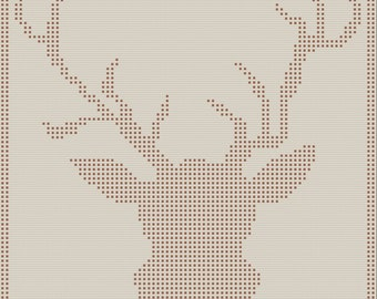 Deer Head Afghan, Bobble Stitch Crochet Pattern, Written Row by Row, Color Counts, Instant Download, Graphgan Pattern