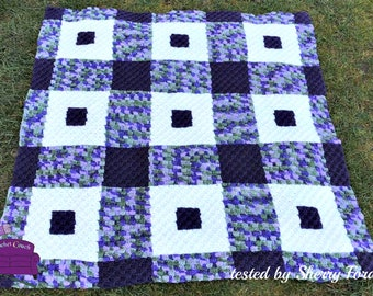 Laura Quilt Afghan, C2C Crochet Pattern, Written Row by Row, Color Counts, Instant Download, C2C Graph, C2C Pattern, C2C Crochet, Graphgan