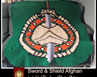 Sword & Shield Afghan, C2C Crochet Pattern, Written Row Counts, C2C Graphs, Corner to Corner, Crochet Pattern, C2C Graph