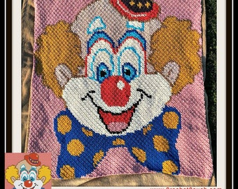 Clown Afghan Blanket, C2C Crochet Pattern, Written Row Counts, C2C Graphs, Corner to Corner, Crochet Pattern, C2C Graph