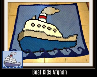 Boat Children's Afghan, C2C Crochet Pattern, Written Row Counts, C2C Graphs, Corner to Corner, Crochet Pattern, C2C Graph
