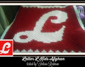 Letter L Kids Afghan 3, C2C Crochet Pattern, Written Row Counts, C2C Graphs, Corner to Corner, Crochet Pattern, C2C Graph
