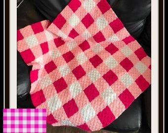 Pink Gingham Afghan, C2C Crochet Pattern, Written Row Counts, C2C Graphs, Corner to Corner, Crochet Pattern, C2C Graph