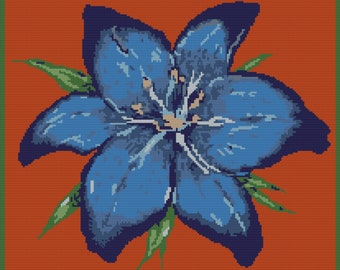 Blue Stargazer Lily, TSS Graph, SC Graph, Crochet Pattern, Written Row by Row, Instant Download, Graphgan