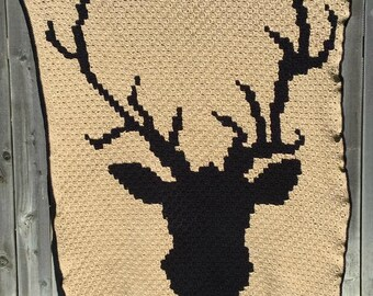 Deer Afghan, C2C Crochet Pattern, Written Row Counts, C2C Graphs, Corner to Corner Crochet Pattern, C2C Graph