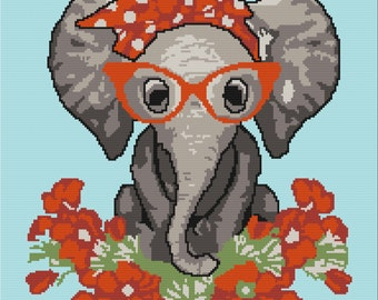 Miss Elephant Afghan, sc Crochet Pattern, tss Crochet Pattern, Written Row by Row, Color Counts, Instant Download, sc Graph, tss Graph