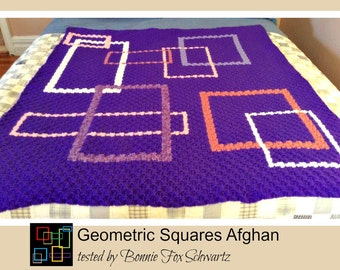 Geometric Squares Afghan, C2C Crochet Pattern, Written Row Counts, C2C Graphs, Corner to Corner, Crochet Pattern, C2C Graph
