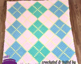Argyle 4 color, Baby Afghan, C2C Crochet Pattern, Written Row by Row, Color Counts, Instant Download, C2C Graph, C2C Pattern