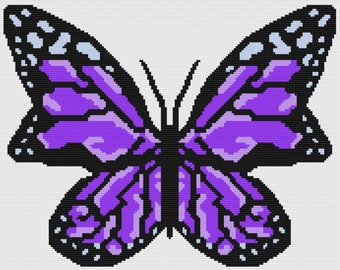 Butterfly in Purples Afghan, sc Crochet Pattern, tss Crochet Pattern, Written Row by Row, Color Counts, Instant Download, sc Graph tss Graph