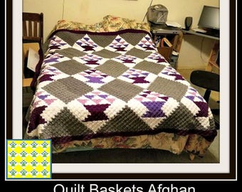 Quilt Baskets Afghan, C2C Graph, with Written Word Chart