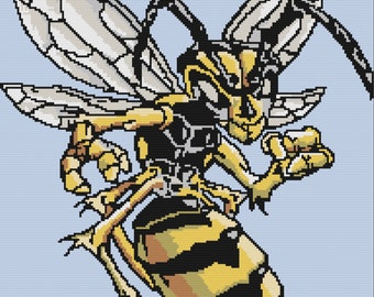 Angry Hornet Afghan , SC / TSS Crochet Pattern, Written Row Counts for single crochet and tunisian simple stitch