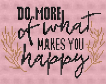 Do More of What Makes You Happy Afghan, C2C Crochet Pattern, Written Row by Row, Color Counts, Instant Download, C2C Graph, C2C Pattern