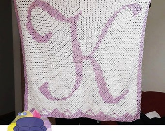 Letter K Baby Afghan, C2C Crochet Pattern, Written Row by Row, Color Counts, Instant Download, C2C Graph, C2C Pattern, Graphgan Pattern