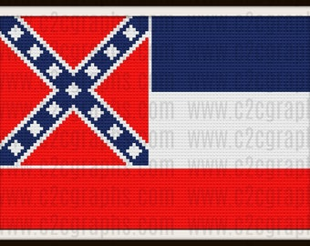 Mississippi Flag Afghan, C2C Crochet Pattern, Written Row Counts, C2C Graphs, Corner to Corner, Crochet Pattern, C2C Graph