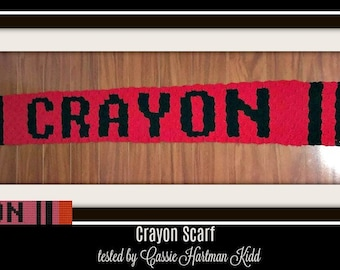 Crayon Scarf, C2C Crochet Pattern, Written Row Counts, C2C Graphs, Corner to Corner, Crochet Pattern, C2C Graph