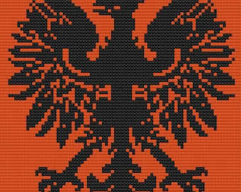 Polish Eagle Afghan, C2C Crochet Pattern, Written Row by Row, Color Counts, Instant Download, C2C Graph, C2C Pattern, Graphgan Pattern