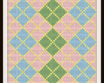 Argyle Baby Afghan Blanket  4 Colors, C2C Crochet Pattern, Written Row Counts, C2C Graphs, Corner to Corner, Crochet Pattern, C2C Graph