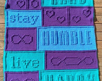Work Hard, Stay Humble, Bobble Stitch Crochet Pattern, Written Row by Row, Color Counts, Instant Download, Graphgan Pattern, Graphgan