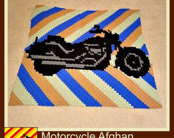 Motorcycle Afghan, C2C Crochet Pattern, Written Row Counts, C2C Graphs, Corner to Corner, Crochet Pattern, C2C Graph