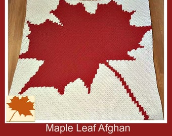 Maple Leaf Afghan, C2C Crochet Pattern, Written Row Counts, C2C Graphs, Corner to Corner Crochet Pattern, C2C Graph