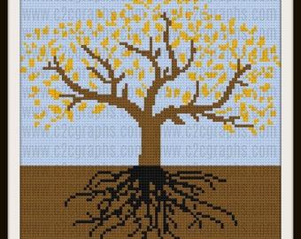 Tree of Life Autumn 1 Afghan, C2C Crochet Pattern, Written Row Counts, C2C Graphs, Corner to Corner, Crochet Pattern, C2C Graph