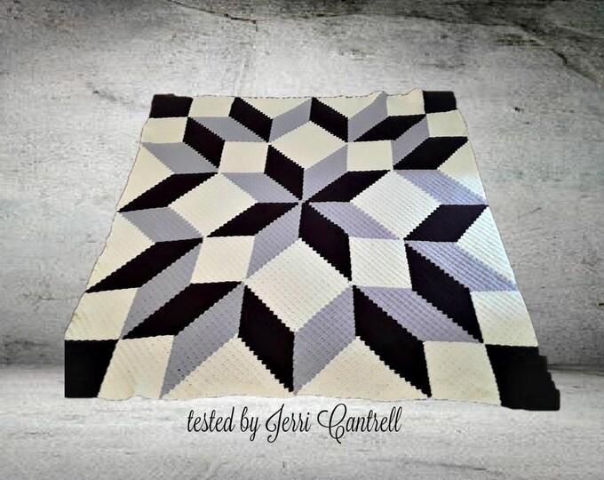 Featured listing image: Carpenter Wheel Afghan Blanket Queen Size, C2C Crochet Pattern, Written Row Counts, C2C Graphs, Corner to Corner, Crochet Pattern, C2C Graph
