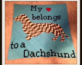 Dachshund Afghan, C2C Graph, with Written Word Chart