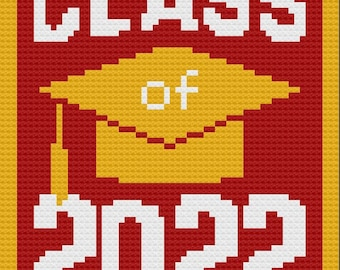 Class of 2022 Afghan, C2C Crochet Pattern, Written Row Counts, C2C Graphs, Corner to Corner, Crochet Pattern, C2C Graph