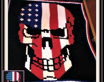 Skull Stars and Stripes Afghan, C2C Crochet Pattern, Written Row Counts, C2C Graphs, Corner to Corner, Crochet Pattern, C2C Graph