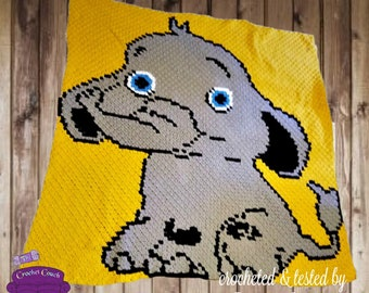 Elephant Kids Afghan, C2C Crochet Pattern, Written Row Counts, C2C Graphs, Corner to Corner, Crochet Pattern, C2C Graph