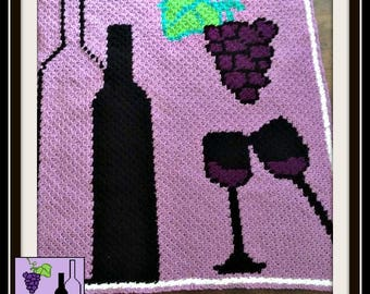 Wine Afghan, C2C Crochet Pattern, Written Row Counts, C2C Graphs, Corner to Corner, Crochet Pattern, C2C Graph